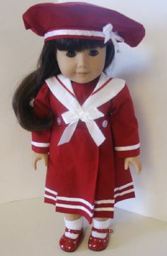 American Girl 18 Doll Clothes Red Sailor by sewsweetdollboutique