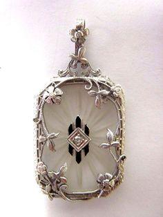 STUNNING 14K WHITE GOLD CAMPHOR GLASS, ENAMEL & DIAMOND VINTAGE ART DECO PENDANT