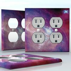 DIY Do It Yourself Home Decor - Easy to apply wall plate wraps | Eye of the Universe  Purple and red space image, beautiful universe picture  wallplate skin sticker for 2 Gang Wall Socket Duplex Receptacle | On SALE now only $4.95