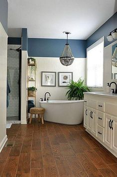 Bathroom Design Ideas Navy blue and white master bathroom designs.Navy blue and white master bathroom designs.Awesome Bathroom Design Ideas Navy blue and white master bathroom designs.Navy blue and white master bathroom designs. Rustic Master Bathroom, Modern Farmhouse Bathroom, Rustic Farmhouse, Bathroom With Wood Floor, Farmhouse Style, Farmhouse Ideas, Gold Bathroom, Charcoal Bathroom, Bathroom Wood Floors