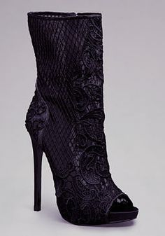 Evelina Lace Peep Toe Bootie at bebe