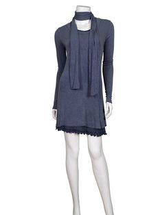Tunika mit Schal, blau - Online Shop meinkleidchen.de