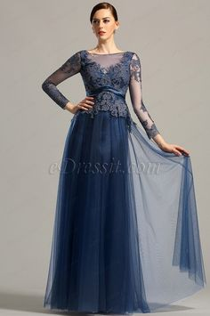 Looking for low price but high quality Long Sleeves Open Back Navy Blue Evening Dress Prom Dress (26153005)? eDressit.com can custom-made for you!