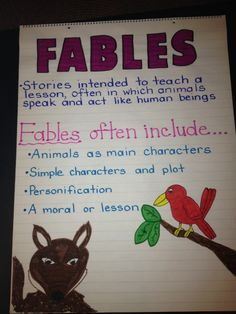 Fables Anchor Chart (image only) Reading Lessons, Reading Strategies, Teaching Reading, Reading Genres, Teaching Ideas, Reading Comprehension, Learning, Teaching Literature, Reading Groups