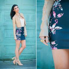 Nasty Gal Kaleidoscope Leaf Skirt, Lulus Kelsi Dagger Giada Sling Back Heel, Twin Set Simona Barbieri Suede Crop Jacket