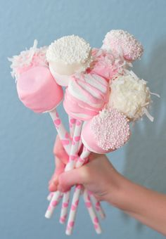 Marshmallows dipped in yummy confections and perched on our Pink Dot Paper Straws.... www.thesugardiva.com