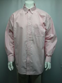 ROUNDTREE & YORKE MEN'S GOLD LABEL NON-IRON OXFORD PINK SHIRT SZ 18-35  COTTON #ROUNDTREEYORKE
