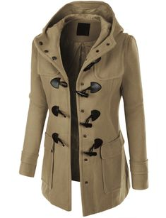 LE3NO Womens Classic Fully Lined Toggle Duffle Pea Coat with Hoodie