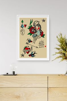 Illustration print by Fluorama inspired by classic tattoo art Tattoo Posters, Classic Tattoo, Love Tattoos, Tattoo Art, Etsy Seller, Graphic Design, Art Prints, Wall Art, Inspired