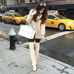 «Neutrals and a cozy sweater today in NYC!  Outfit details: www.liketk.it/284er #liketkit #ootd #nyc #wiwt #celine #otkboots»