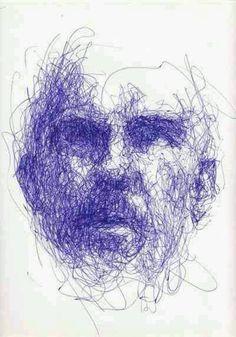 Ook deze meneer bestaat uit allemaal lijnen en de schaduw is gemaakt door de lijnen dichter op elkaar te tekenen.