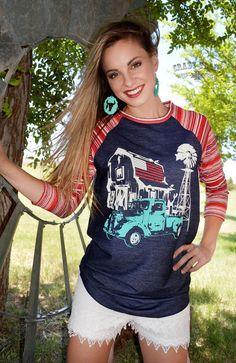 New Crazy Train Homegrown Red Blue Western Baseball Shirt Sz Small to 3XL  #CrazyTrain #BaseballRaglan