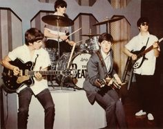 The Beatles rehearsing for the Ed Sullivan show, 1964.