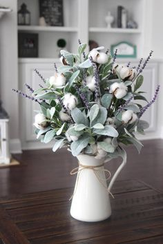 Farmhouse Decor~Cotton Arrangement~Table Centerpiece~Lamb's Ear~Lavender and Cotton in a White Pitcher