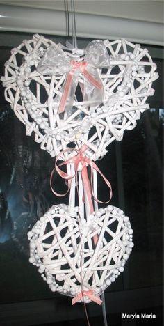 moje rękodzieło: papierowa wiklina - serce / dekoracja / My craft: paper wicker - heart / decoration