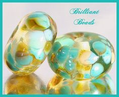 Turquoise Sky Blue & Amber Glass Beads  Handmade by Gillianbeads, $4.50
