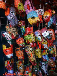 Masks for sale at a market in Nicaragua.