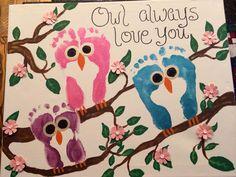 Footprint Owls on Canvas