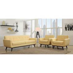 Bring a gentle pop of color to your living space with the mustard yellow linen upholstery of this modern sofa and armchair set. The conical shaped, solid birch wood legs complete the ensemble.
