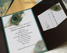 Unique Wedding Invitations and 5x7 Envelopes, Peacock Design, Unique Wedding Invitations, Belly Bands, Watercolor Design, Overlays, Card Stock, Aqua, Metallic