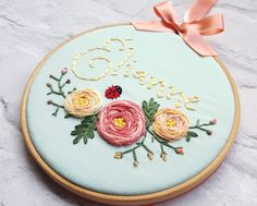 Personalised Baby Gift, New baby keepsake, Floral wall art, Nursery Decor, Unique Christening Gift, Hoop Art, embroidery art, wall art by LoveHeartLane on Etsy