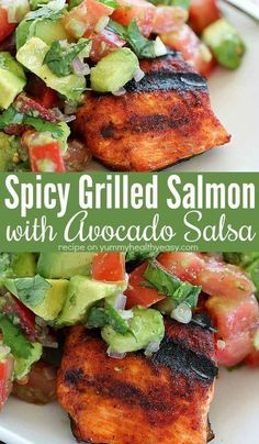 family will go crazy for this Spicy Grilled Salmon with Avocado Salsa! Coat the salmon with an easy to make, sweet & spicy rub. Then throw the seasoned salmon fillets on the grill and whip up an easy Avocado Salsa to top this Spicy Grilled Salmo Grilled Salmon Recipes, Spicy Salmon, Healthy Salmon Recipes, Avocado Recipes, Healthy Dinner Recipes, Grilled Avocado, Salmon Avocado Salsa, Salmon On Grill, Tilapia Recipes