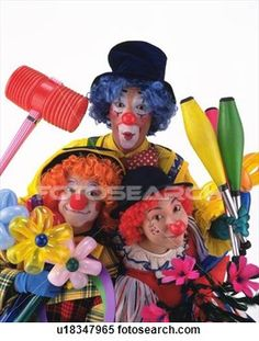 Stock Image - Portrait of Clowns Holding Flowers of Balloon, Clubs and Hammer, Front View . Fotosearch - Search Stock Photos, Mural Pictures, Photographs, and Photo Clipart