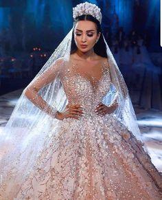 2019 Luxury Ball Gown Wedding Dresses Lace Appliques Arabic Dubai Princess Bridal Gowns Plus Size Vestido De Noiva Custom Made Extravagant Wedding Dresses, Princess Wedding Dresses, Dream Wedding Dresses, Bridal Dresses, Wedding Gowns, Wedding Dress Sparkle, Wedding Venues, Wedding Proposals, Wedding Ideas