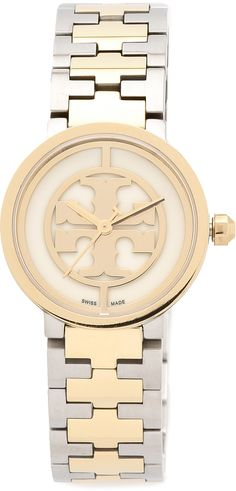 I don't wear a watch and I should. Like the silver/gold convo and the tailored clean look. Tory Burch Reva Watch
