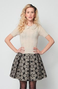 Ultra Darling Sweater- an old fashioned collar with a modern jeweled twist. Love this outfit.