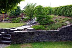 Garten - Trockenmauer - Schiefer Naturstein - rock wall