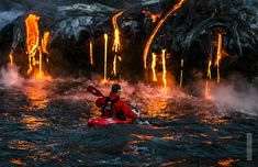 Extreme sports photographer Alexandre Socci accompanied professional kayaker Pedro Oliva and his team (including kayakers Ben Stookesberry and Chris Korbulic) as they decided to take on the turbulent waters surrounding Kilauea, an active volcano on the southeast slope of Mauna Loa in south-central Hawaii. Unlike a typical water expedition, though, the group kayaked alongside flows of molten lava as it streamed down the gushing volcano.