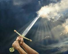 """Of The Spirit Using our prayers and fasting as a sword to rend the Heavens above us. """"Sword of the Spirit"""" by Tamer ElsharouniUsing our prayers and fasting as a sword to rend the Heavens above us. """"Sword of the Spirit"""" by Tamer Elsharouni Christian Warrior, Christian Art, Christian Quotes, Pick Your Battles, Sword Of The Spirit, Prayer And Fasting, Bride Of Christ, Prophetic Art, Lion Of Judah"""