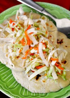 Salvadoran Pupusas con Curtido - makes 6 pupusas; waay too much Curtido  (substituted white vinegar - cut to 1/2 or 1/4 of recipe next time)