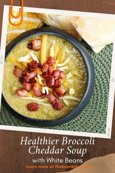 This broccoli cheddar soup takes a classic American restaurant favorite and packs a punch of protein with the addition of white beans. Plus, the white beans make this a healthier soup option by eliminating any cream or flour. | Soup Recipe | Cooking with White Beans | White Bean Recipe | Broccoli Recipe | Vegetarian Recipe | Gluten Fee Recipe | One Pot Meal | Lemon Lentil Soup Recipe, Lentil Soup Recipes, Red Lentil Soup, Chickpea Recipes, Vegetarian Recipes, Cooking Recipes, Healthy Recipes, Cooking With White Beans, White Bean Recipes