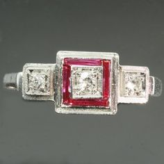 Art Deco ruby diamond engagement ring by adinantiquejewellery, $1540.00