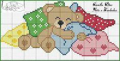 Cross Stitch Fabric, Cross Stitch Baby, Cross Stitch Animals, Cross Stitch Charts, Cross Stitch Designs, Cross Stitching, Cross Stitch Patterns, Teddy Bear Crafts, Baby Canvas