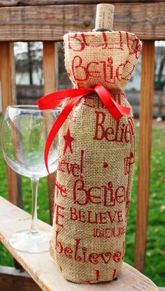 Festive Burlap Wine Bottle Bag by KelsCozyCorner on Etsy, $6.00