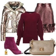 L'outfit+è+composto+da+un+piumino+corto+con+cappuccio+color+oro+indossato+con+il+maglione+con+maniche+blusanti+e+perline+sui+polsi+e+la+gonna+in+ecopelle+color+rame+con+rouches.+Il+look+si+completa+con+la+borsetta+con+tracolla+Liu+Jo+Jeans+e+gli+stivaletti+in+scamosciato+spuntati+con+tacco+particolare+della+linea+Katy+Perry.