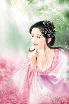 Post card art   (Chinese Hanfu Hairstyle 17)