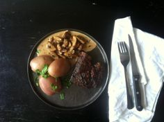 Calf liver, potatoes and mushrooms fried in port and cream. SO yummy.