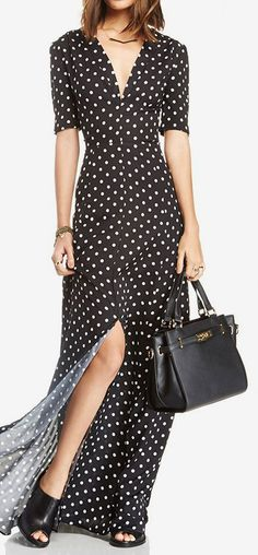 fbc8fb071b45 Plunging Neck Polka Dot Slit Maxi Dress YES! New polky dots!