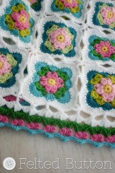 Crochet Pattern, Cottage Garden Blanket, Baby, Afghan, Throw