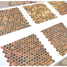 We're creating custom real penny #mosaics again for a restaurant floor. Find out more about modwalls tile at www.modwalls.com