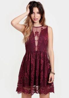 at Threadsence // burgundy lacy dress