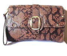 Fashion Wristlet Handbag Brown Faux Leather Snake Skin Print Clutch   | eBay