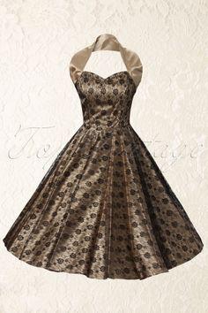 Mooi, nu nog even een gelegenheid creëren om deze prachtige jurk te showen! Vivien of Holloway - 1950s Retro halter luxury Champagne Satin Lace swing dress