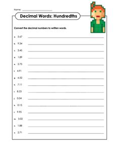 math worksheet : writing the decimal numbers for the word names  place value  : Naming Decimals Worksheets