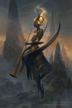 Israfel - Angel of Song, Peter Mohrbacher on ArtStation at https://www.artstation.com/artwork/israfel-angel-of-song