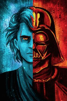 a look at our Anakin/Vader split face artwork Star Wars Meme, Vader Star Wars, Star Wars Fan Art, Star Wars Pictures, Star Wars Images, Anakin Vader, Anakin Skywalker, Darth Vader Meme, Darth Vader Artwork
